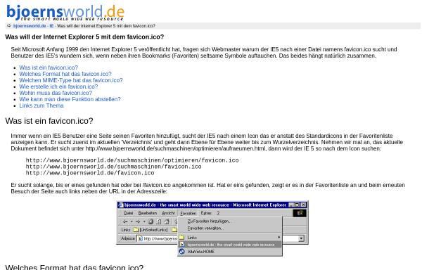 Vorschau von www.bjoernsworld.de, Was will der Internet Explorer 5 mit dem favicon.ico?