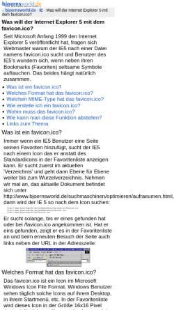 Vorschau der mobilen Webseite www.bjoernsworld.de, Was will der Internet Explorer 5 mit dem favicon.ico?