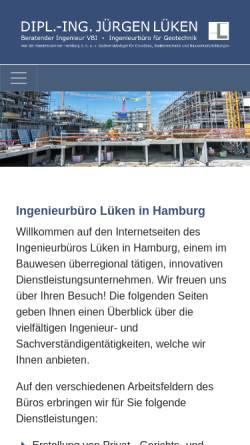 Vorschau der mobilen Webseite www.ingenieurbuero-lueken.de, Lüken, Jürgen