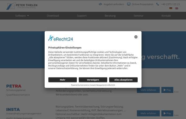 Vorschau von www.thielen.biz, Technische & Betriebswirtschaftliche Industrieberatung - Peter Thielen