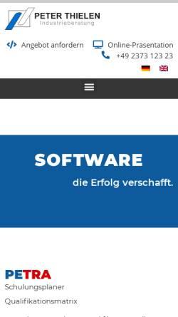 Vorschau der mobilen Webseite www.thielen.biz, Technische & Betriebswirtschaftliche Industrieberatung - Peter Thielen