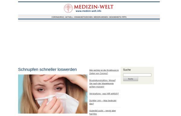 Vorschau von www.medizin-welt.info, Medizin-Welt: Gesund durch Wissen