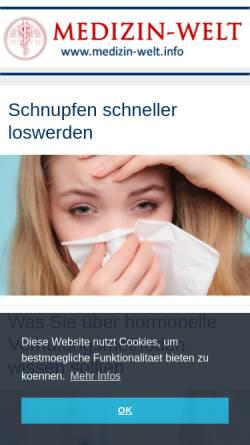 Vorschau der mobilen Webseite www.medizin-welt.info, Medizin-Welt: Gesund durch Wissen