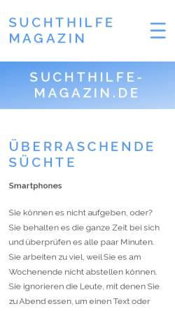 Vorschau der mobilen Webseite suchthilfe-magazin.de, Suchthilfe-Magazin