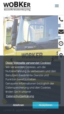 Vorschau der mobilen Webseite www.wobker-baustoffe.de, Friedrich Wobker