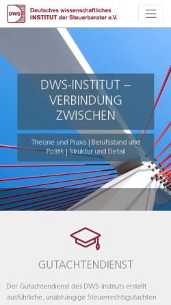Vorschau der mobilen Webseite www.dws-institut.de, Deutsches wissenschaftliches Institut der Steuerberater Berlin e.V
