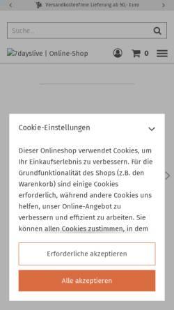 Vorschau der mobilen Webseite www.7dayslive.de, Fotofachhandel Dr. Lang GmbH