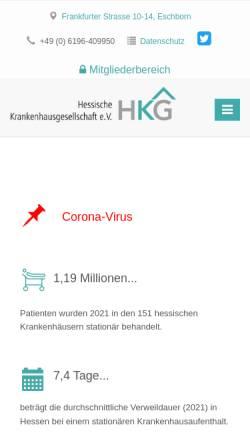 Vorschau der mobilen Webseite www.hkg-online.de, Hessische Krankenhausgesellschaft