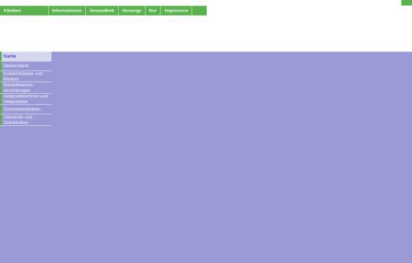Vorschau von www.klinikverzeichnis-online.de, Klinikverzeichnis Online