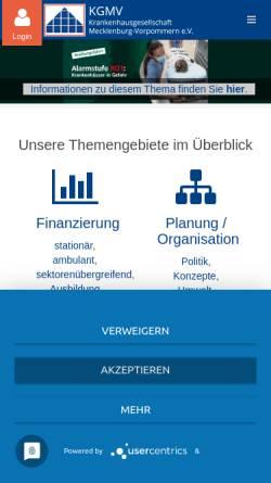 Vorschau der mobilen Webseite www.kgmv.de, Krankenhausgesellschaft Mecklenburg-Vorpommern e.V.