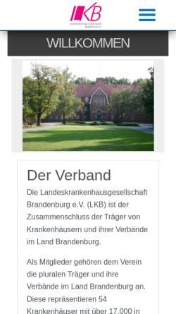 Vorschau der mobilen Webseite www.lkb-online.de, Landeskrankenhausgesellschaft Brandenburg e.V.