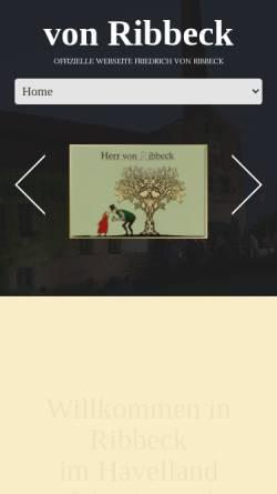 Vorschau der mobilen Webseite www.vonribbeck.de, Herr von Ribbeck auf Ribbeck im Havelland - Friedrich von Ribbeck