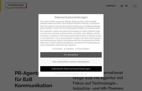 Vorschau von www.maisberger.de, Maisberger Whiteoaks Gesellschaft für strategische Unternehmenskommunikation mbH