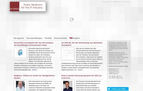 Vorschau von www.prolog.biz, Prolog Communications GmbH
