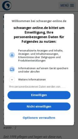 Vorschau der mobilen Webseite www.schwanger-online.de, Schwanger-online