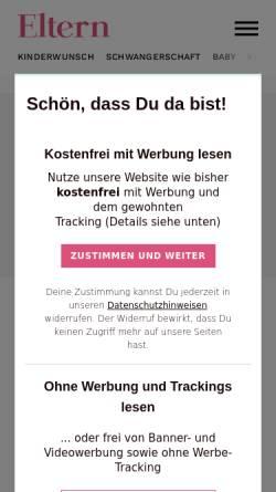 Vorschau der mobilen Webseite www.eltern.de, Schwangerschaft und Geburt