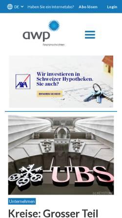 Vorschau der mobilen Webseite www.awp.ch, Awp Finanznachrichten