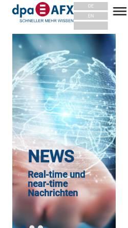 Vorschau der mobilen Webseite www.dpa-afx.de, Dpa-AFX Wirtschaftsnachrichten GmbH