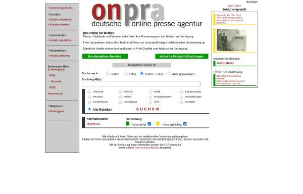 Vorschau von www.onpra.de, Onpra - deutsche online presse agentur