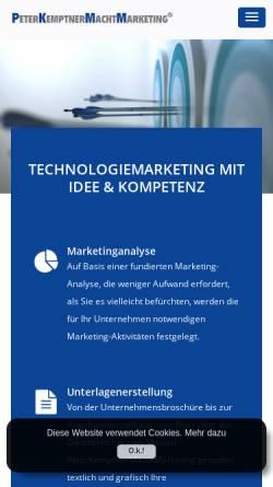 Vorschau der mobilen Webseite www.kemptner.com, Ing. Peter W. Kemptner