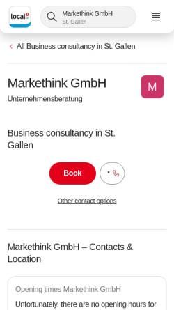 Vorschau der mobilen Webseite www.markethink.ch, Markethink Unternehmensberatung