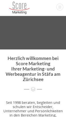 Vorschau der mobilen Webseite www.scoremarketing.ch, Score Marketing