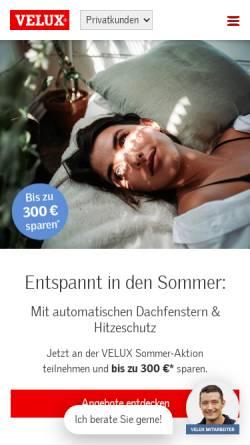 Vorschau der mobilen Webseite www.velux.de, Velux Deutschland GmbH