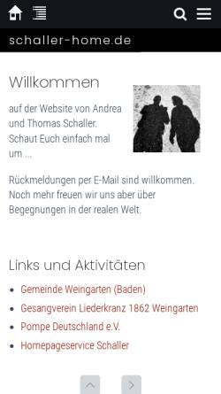 Vorschau der mobilen Webseite schaller-home.de, Schaller, Familie