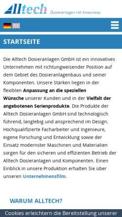 Vorschau der mobilen Webseite www.alltech-dosieranlagen.de, Alltech Dosieranlagen GmbH