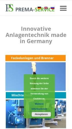 Vorschau der mobilen Webseite www.prema-service.com, Prema-Service GmbH
