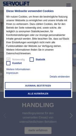 Vorschau der mobilen Webseite www.servolift.de, Servolift GmbH