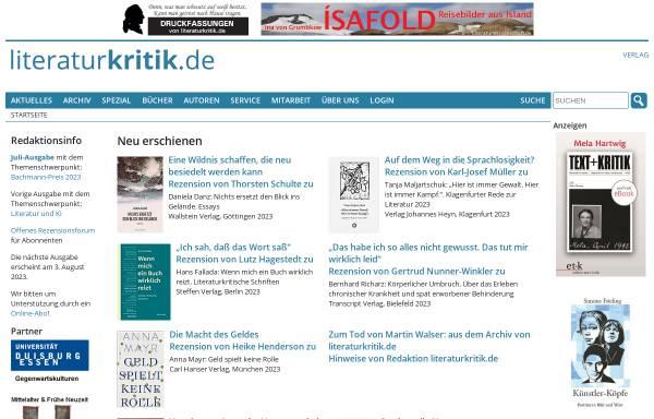 Vorschau von www.literaturkritik.de, Literaturkritik.de - Rezensionsforum für Literatur