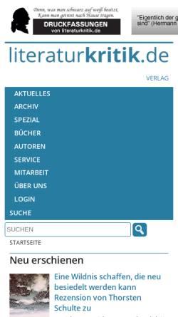 Vorschau der mobilen Webseite www.literaturkritik.de, Literaturkritik.de - Rezensionsforum für Literatur