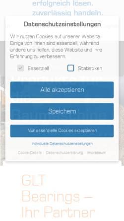 Vorschau der mobilen Webseite www.glt-gleitlagertechnik.de, GleitLagerTechnik GmbH
