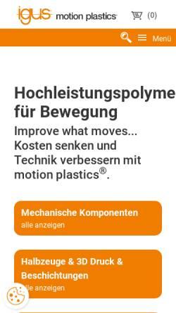 Vorschau der mobilen Webseite www.igus.de, Iglidur Gleitlager by Igus GmbH