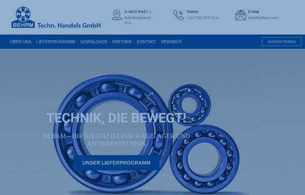 Vorschau von www.beham.com, Kugellager Beham Handels Ges.m.b.H.