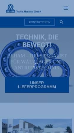 Vorschau der mobilen Webseite www.beham.com, Kugellager Beham Handels Ges.m.b.H.