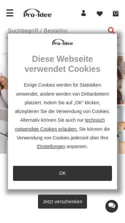 Vorschau der mobilen Webseite www.proidee.de, Pro-Idee GmbH & Co. KG