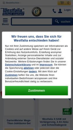 Vorschau der mobilen Webseite www.westfalia.de, Westfalia Werkzeugco. GmbH & Co KG