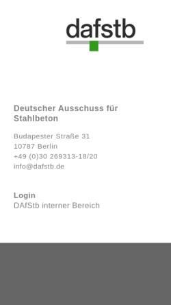 Vorschau der mobilen Webseite www.dafstb.de, Deutscher Ausschuss für Stahlbeton (DAfStb)