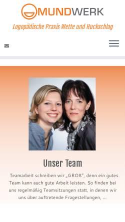Vorschau der mobilen Webseite www.mundwerk-arnsberg.de, Logopädische Praxis Wefing und Huckschlag