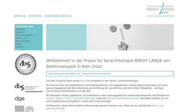 Vorschau von www.birgit-lange.de, Sprachtherapeutische Praxis Birgit Lange
