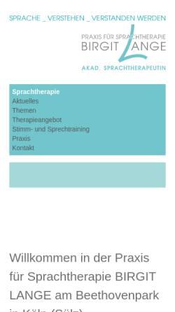 Vorschau der mobilen Webseite www.birgit-lange.de, Sprachtherapeutische Praxis Birgit Lange