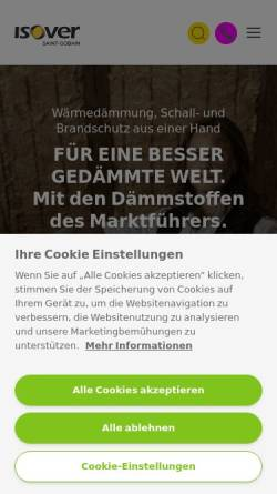 Vorschau der mobilen Webseite www.isover.de, Saint-Gobain Isover G+H AG