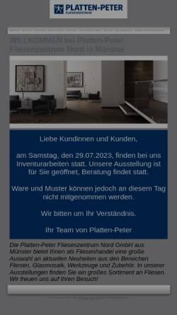 Vorschau der mobilen Webseite www.platten-peter.de, Platten-Peter Fliesenzentrum Nord GmbH und Co. KG