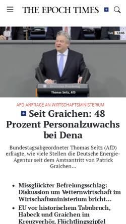 Vorschau der mobilen Webseite www.epochtimes.de, Epoch Times