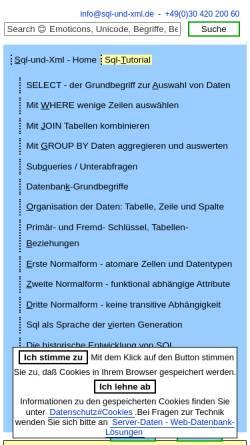 Vorschau der mobilen Webseite www.sql-und-xml.de, Sql lernen - Selbststudium mit Beispiel-Datenbank