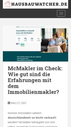 Vorschau der mobilen Webseite www.hausbauwatcher.de, HausbauWatcher Deutschland