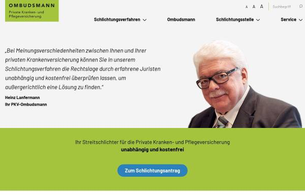 Vorschau von www.pkv-ombudsmann.de, Ombudsmann private Kranken- und Pflegeversicherung