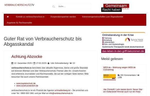 Vorschau von www.verbraucherschutz.tv, Verbraucherschutz im Internet, Udo Schmallenberg
